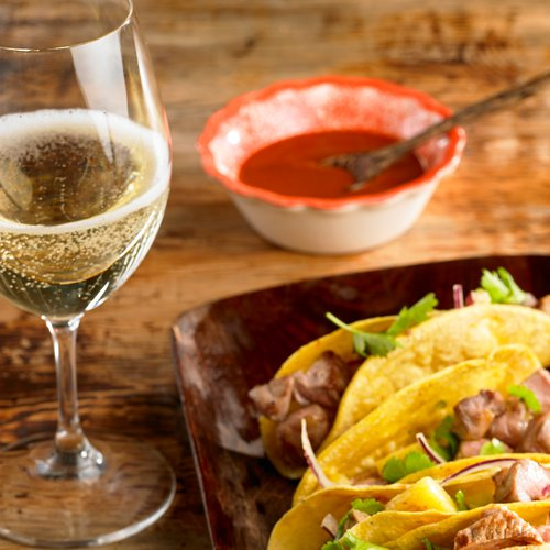 Cava with Tacos